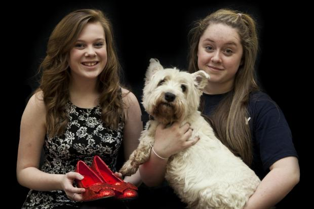 Dorothys Emily Gilday  and Olivia Mai Withey with dog Toto (played by Charlie)