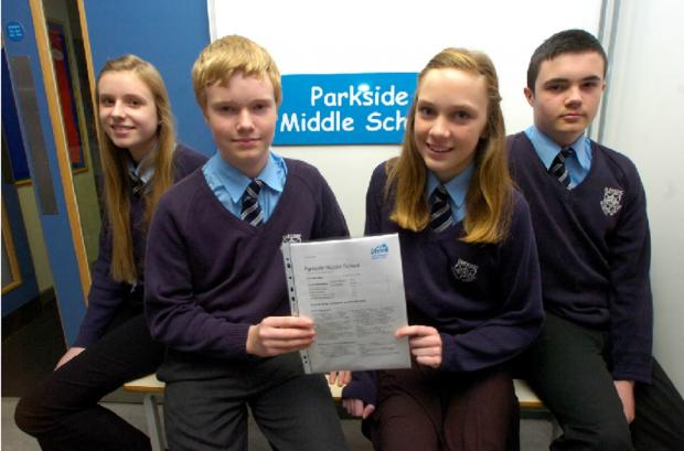 Bromsgrove Advertiser: Aimee Delaney, Finlay Davis, Annabelle Ingram and Matthew Tomkinson, all aged 13, have been celebrating Parkside's good Ofsted report.   Buy this photo BMM141401a