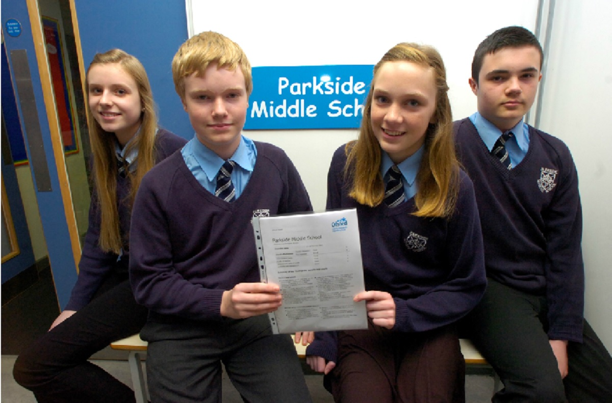 Aimee Delaney, Finlay Davis, Annabelle Ingram and Matthew Tomkinson, all aged 13, have been celebrating Parkside's good Ofsted report.   Buy this photo BMM141401a