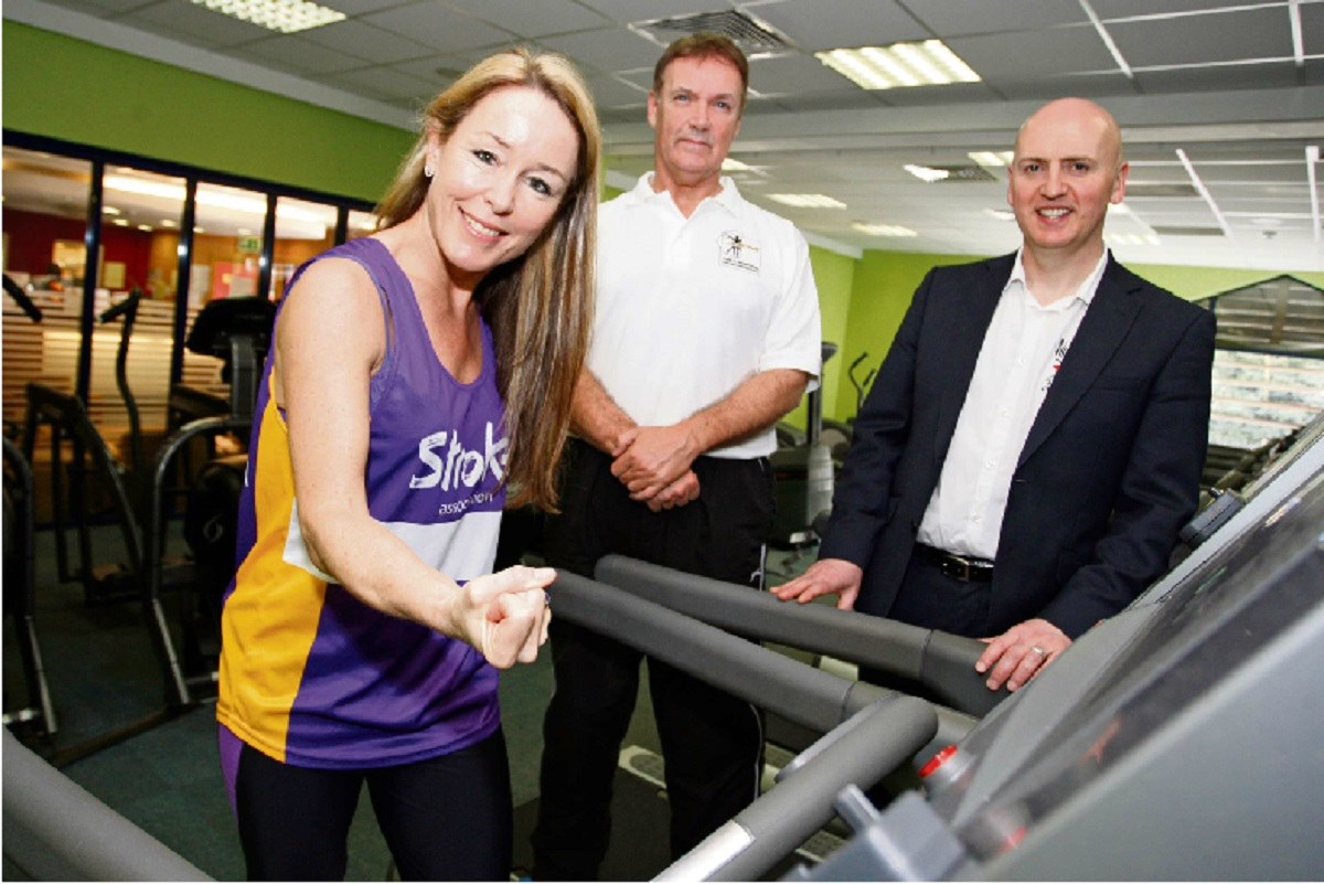 Lara Jackson, team leader at Altered Images, is preparing to run the London Marathon this Sunday. Pictured with gym manager Paul Costello and Pete Rumbold.   Buy this photo BCR151413_01