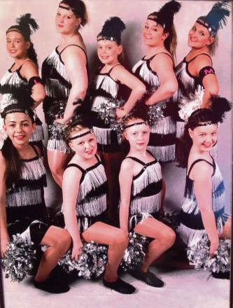Twirlers Alyshia Gayle, Amie Coles, Leah Farmer, Emma Shepherd and Angie Little with Lucy Malley, Lauren Mernagh, Rebecca Grace and Keira Davis