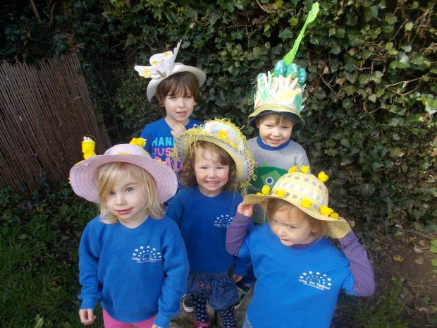EASTER BONNET: Lickey End Playgroup youngsters took part in a bonnet parade as part of their Easter activities. SP