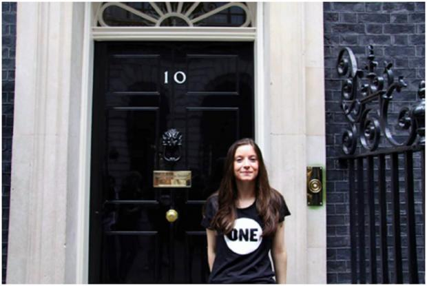 Bromsgrove Advertiser: DEMOCRACY IN ACTION: Bromsgrove teenager Emily Watkins, a ONE UK Youth Ambassador, recently visited Downing Street to launch the campaign. SP