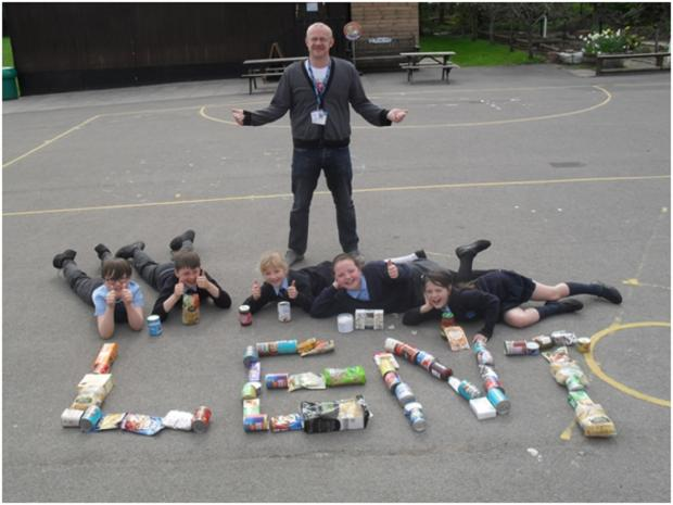LENT COLLECTION: Youngsters and staff at St Peter's Catholic First School organised a successful collection for the Basement Project. SP