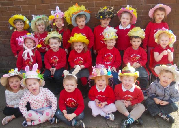 Kids at Jellybabies Nursery with their Easter hats