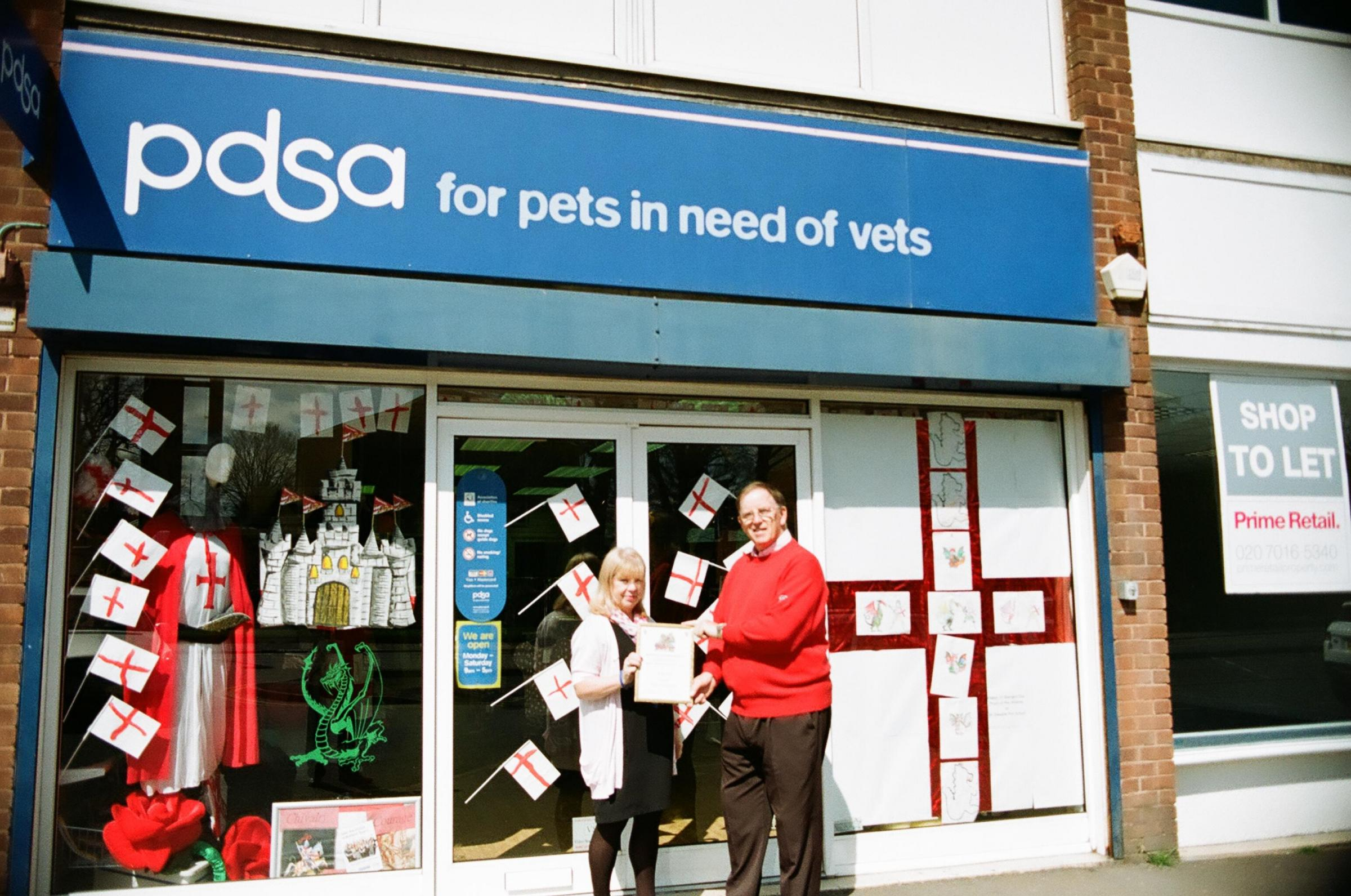 PATRIOTIC: The PDSA charity shop has been named the winner of the St George's Day window dressing competiti