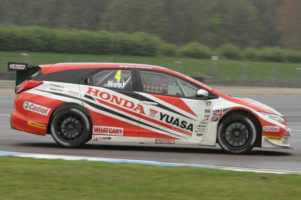 Bromsgrove Advertiser: Matt Neal races in his Civic tourer. Picture: DARREN PRICE