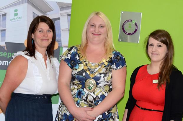 Basepoint Bromsgrove centre manager Elaine Beaumont, civic head of Bromsgrove District Council councillor Helen Jones and Basepoint assistant centre manager Laura Shelton
