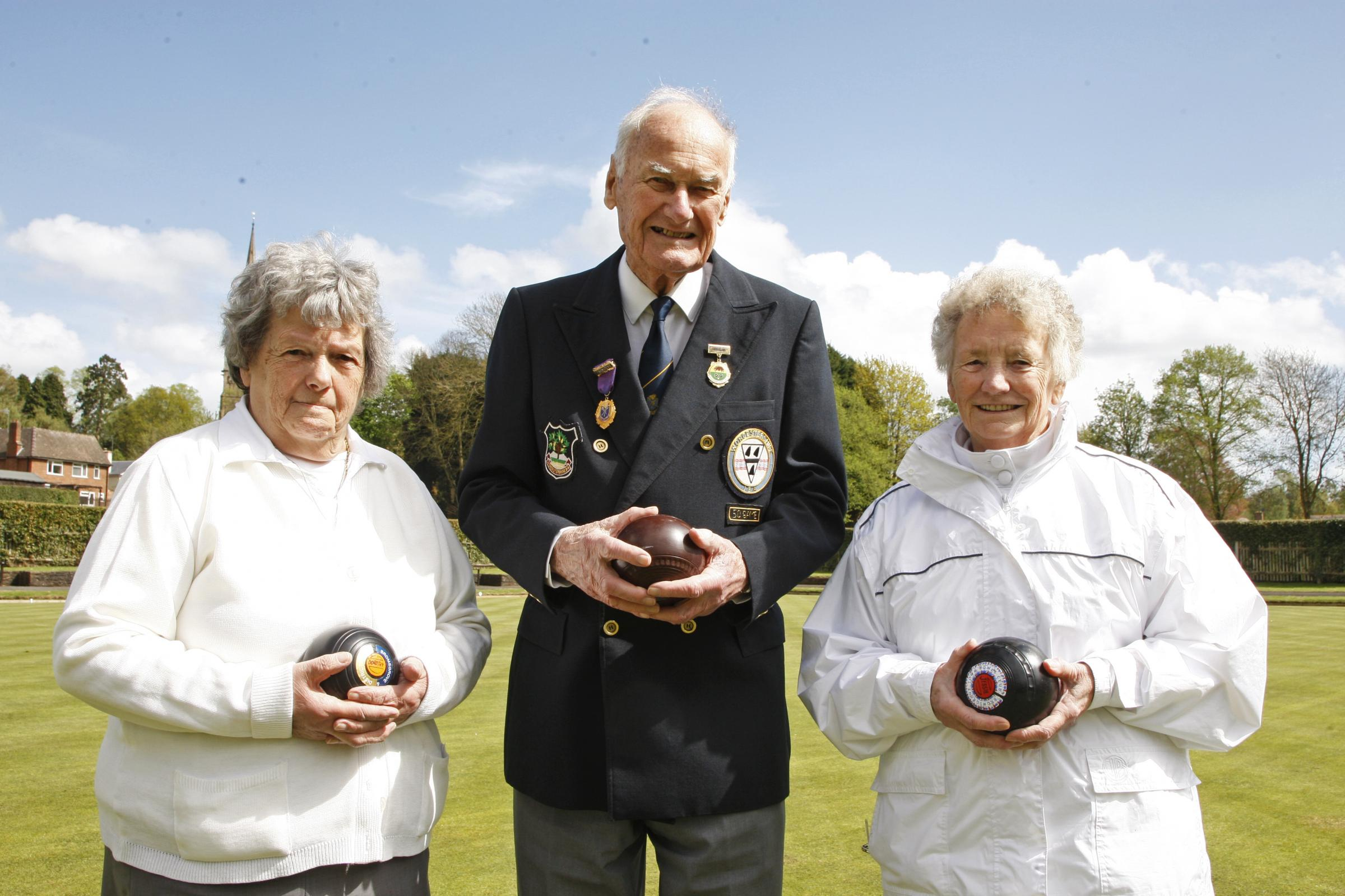Greens machines: Bromsgrove Town Bowling Club's Dot Harding, John Quine and Jessie Matthews. Picture: CRAIG ROSS