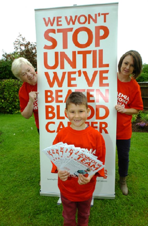 Bromsgrove Advertiser: Nicole Harris, from the town branch of Leukaemia and Lymphoma Research, with Sarah Nesbitt and her son who has leukaemia, Daniel Nesbitt Rowand, six, who are promoting the event.   Buy this photo BMM201401a