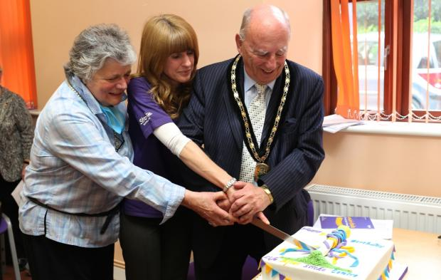 CELEBRATIONS: Councillor Janice Boswell, Life After Stroke Centre coordinator's Johanne Hughes with John Ruck, deputy civic leader of Bromsgrove District Council, who took part in the anniversary celebrations at the Stroke Association's headquarters. SP