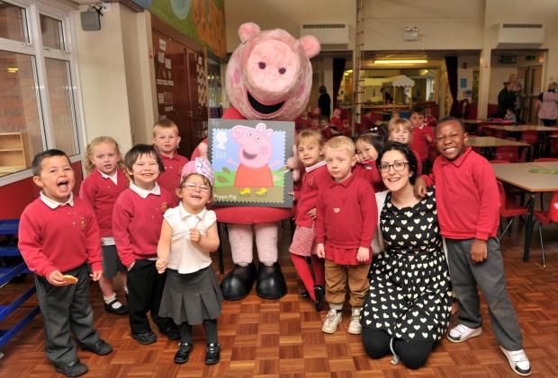 Staff and youngsters from Holly Hill Infant and Nursery School, in Rubery, were excited to meet Peppa Pig, after the school won a recent competition. SP