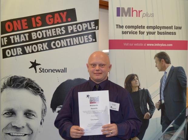 RECOGNISED: Stuart Bray, equality, diversity and inclusion business partner at Bromsgrove-based Core Assets Fostering, with the Stonewall award. SP