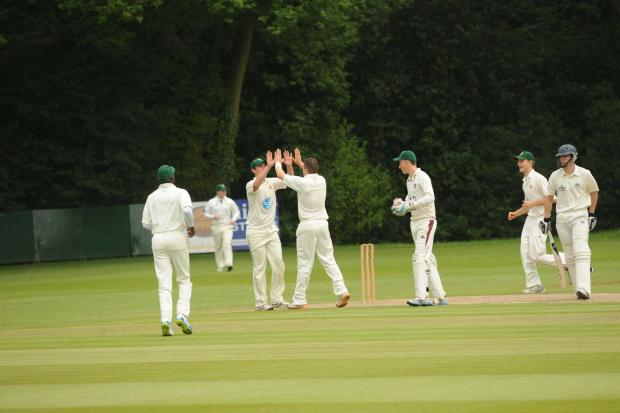 Barnt Green captain Andy Sutton celebrates a wicket in Saturday's defeat to Berkswell.