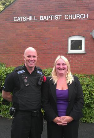 MEETING: Catshill residents are being invited to attend a community meeting. PC Barney Kelso with district councillor for the ward Helen Jones. SP