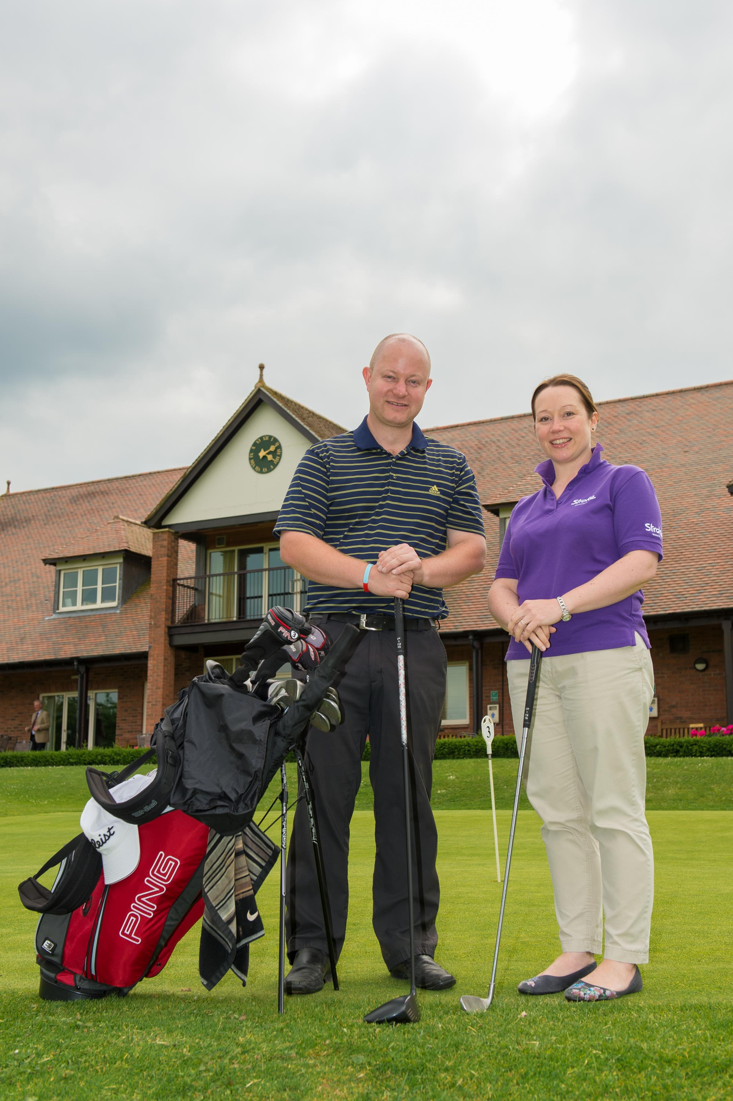 SWING INTO ACTION: Sophie James, Stroke Association's community and events fundraising manager, and Darren Wilkins, from sponsors City Signs Worcester,
