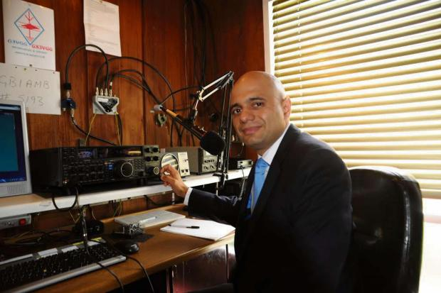 Taking the mic: MP Sajid Javid becomes an honorary lifetime member of Bromsgrove and District Amateur Radio Club.