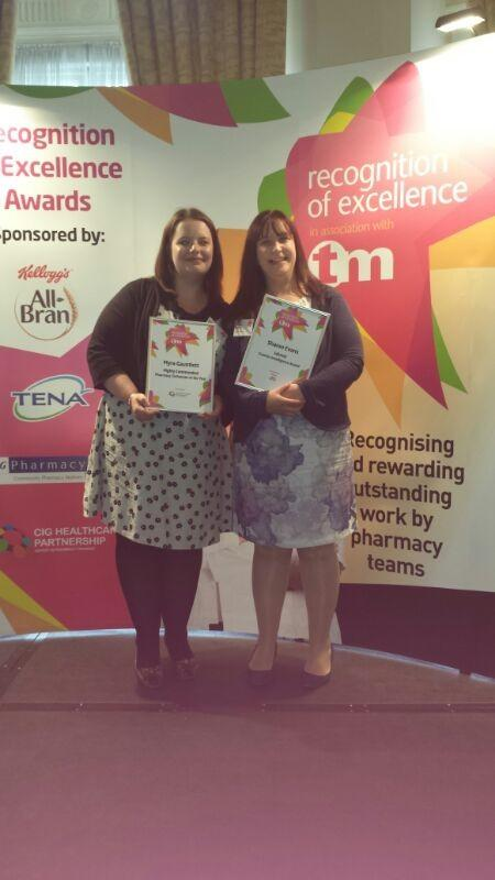 RECOGNISED: Sharon Evans and Myra Gauntlett, from Knights Pharmacy in Rubery, have been given Training Matters magazin