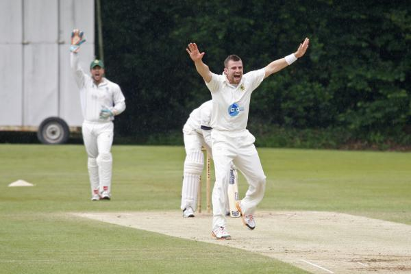 A Barnt Green bowler celebrates a wicket against Himley. Pic: CRAIG ROSS