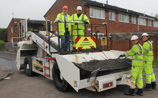 Hard at work: As part of a £3.5million project to improve road surfaces Worcestershire Highways teams will be coming to town.