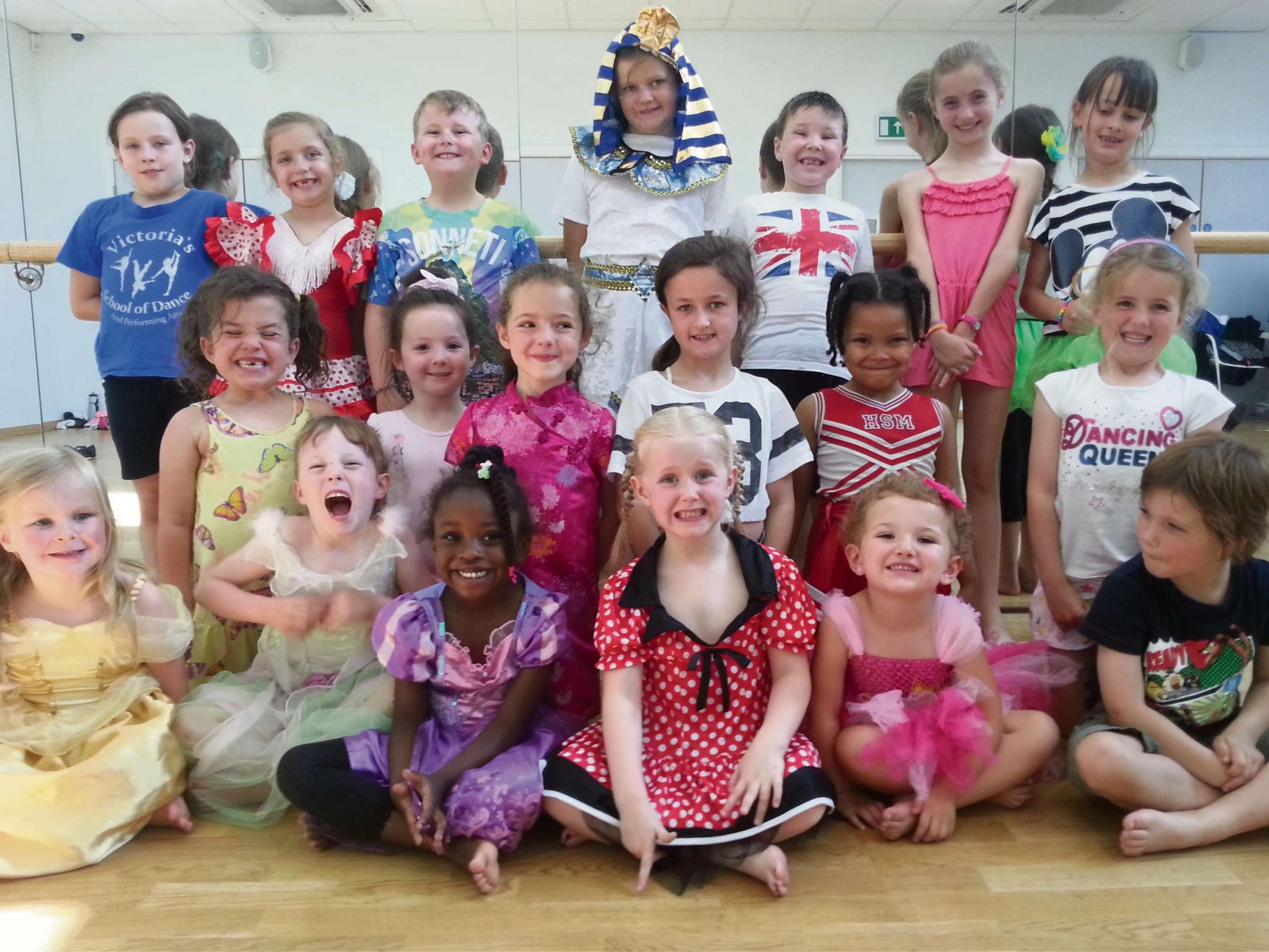 Children from Victoria's School of Dance and Performing Arts in Rednal, dressed up to dance.