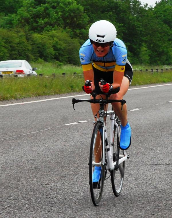 Gritty display: Sam Boswell overcame the odds and mechanical problems to win her age group at the National Standard Distance Triathlon Champions.