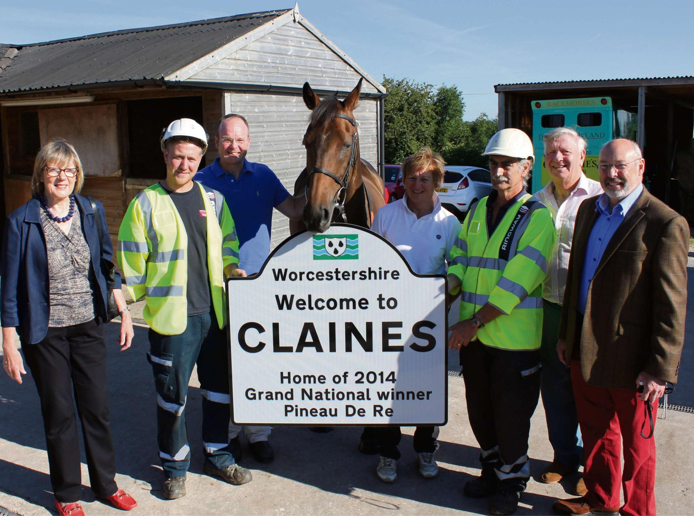 Grand National winner Pineau De Re with (from left) Councillor Sue Askin local councillor for Claines, Sam Golding from Ringway, Dr Richard Newland, Carolyn White, Pineau De Re's groom, Councillor John Smith OBE cabinet member for highways, Bob Garfie