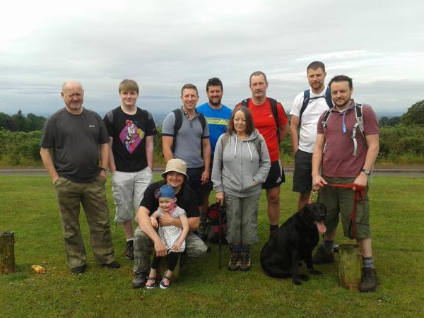 CHARITY WALK: Richard and George Cox, Joe and Daisy Williams, Jared Hipkiss, Doug Rowands, Gaynor Williams, Nick Hyde, Darren Slater and organiser of the challenge Dan Williams. SP