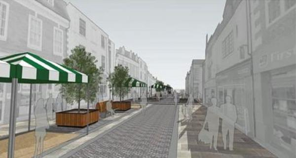NEW LOOK MARKET: Market stalls were included in this artist's impression of how the High Street will look after the construction wor