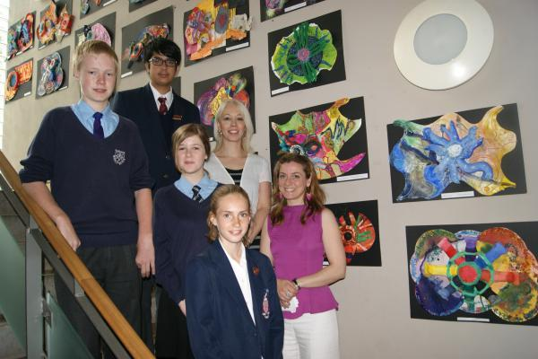 JOINT PROJECT: Teachers Laura Singh and Victoria Ziar with pupils from Parkside Middle and Bromsgrove Preparatory School who participated in a joint art project. SP
