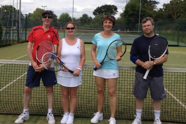 Bromsgrove's Mixed D team of Dave Jones, Lorraine Russell, Anne Simper and Chris Hands.