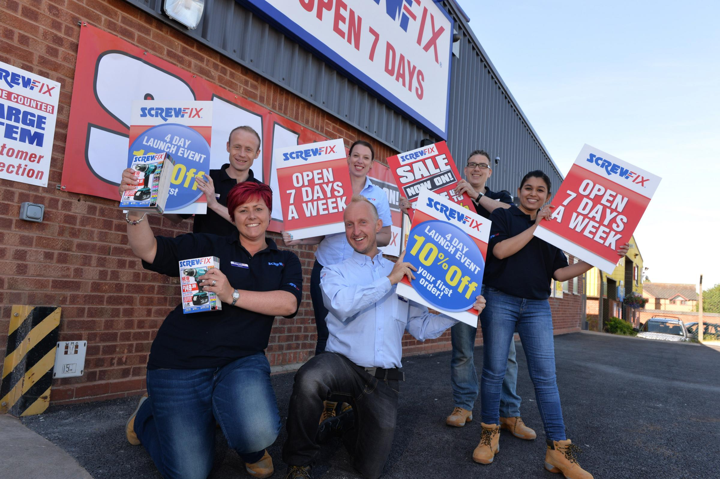 Bromsgrove Screwfix team back row (left to right) Dean Cotton, Alana Hackett and Tony Pinfield, front row (left to right) Dawn Gregg, Will