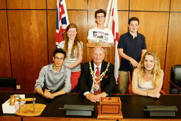 French Exchange Students were invited to Bromsgrove's council chamber at the Council House by  the authority's civic head John Ruck.  Buy this photo BCR301403_01