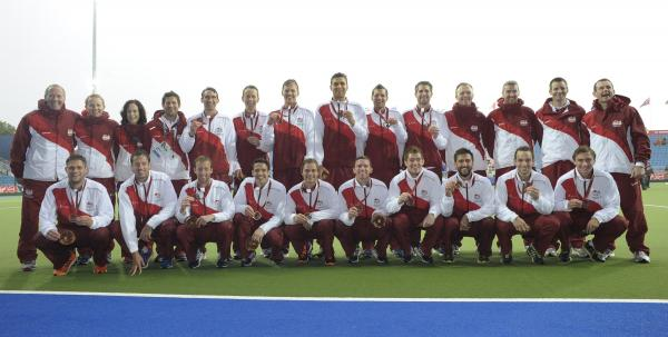 England's men's team, including Dan Fox, wear their bronze medals from the Glasgow Commonwealth Games with pride. Picture: ADY KERRY