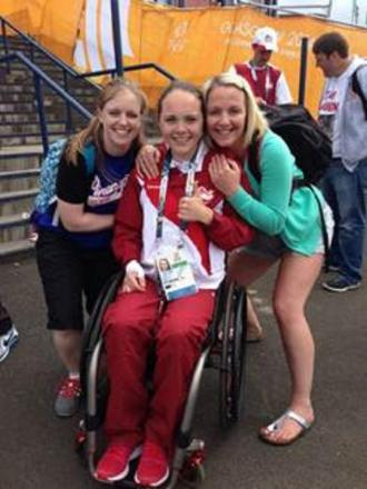 SUPPORT:  Cofton Hackett wheelchair racer Lauren Rowles at the Commonwealth Games, with her physiotherapists Rachel Schieber and Alex Webster who made the trip to Scotland to support her. SP