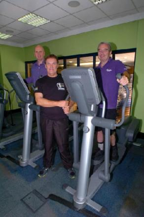 Exercise sessions for the new  Community Exercise Pilot supporting stroke survivors will be based at Altered Images. ARNI trainer Pete Rumbold, gym owner Paul Costello, and survivor Tom Flaherty.  Buy this photo BMM331407