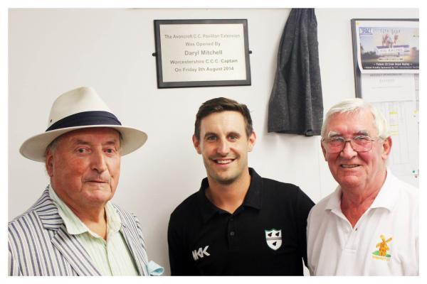 Grand opening: Avoncroft chairman Rodney Brathwaite with Worcestershire skipper Daryl Mitchell and club president Pete Whitehead.