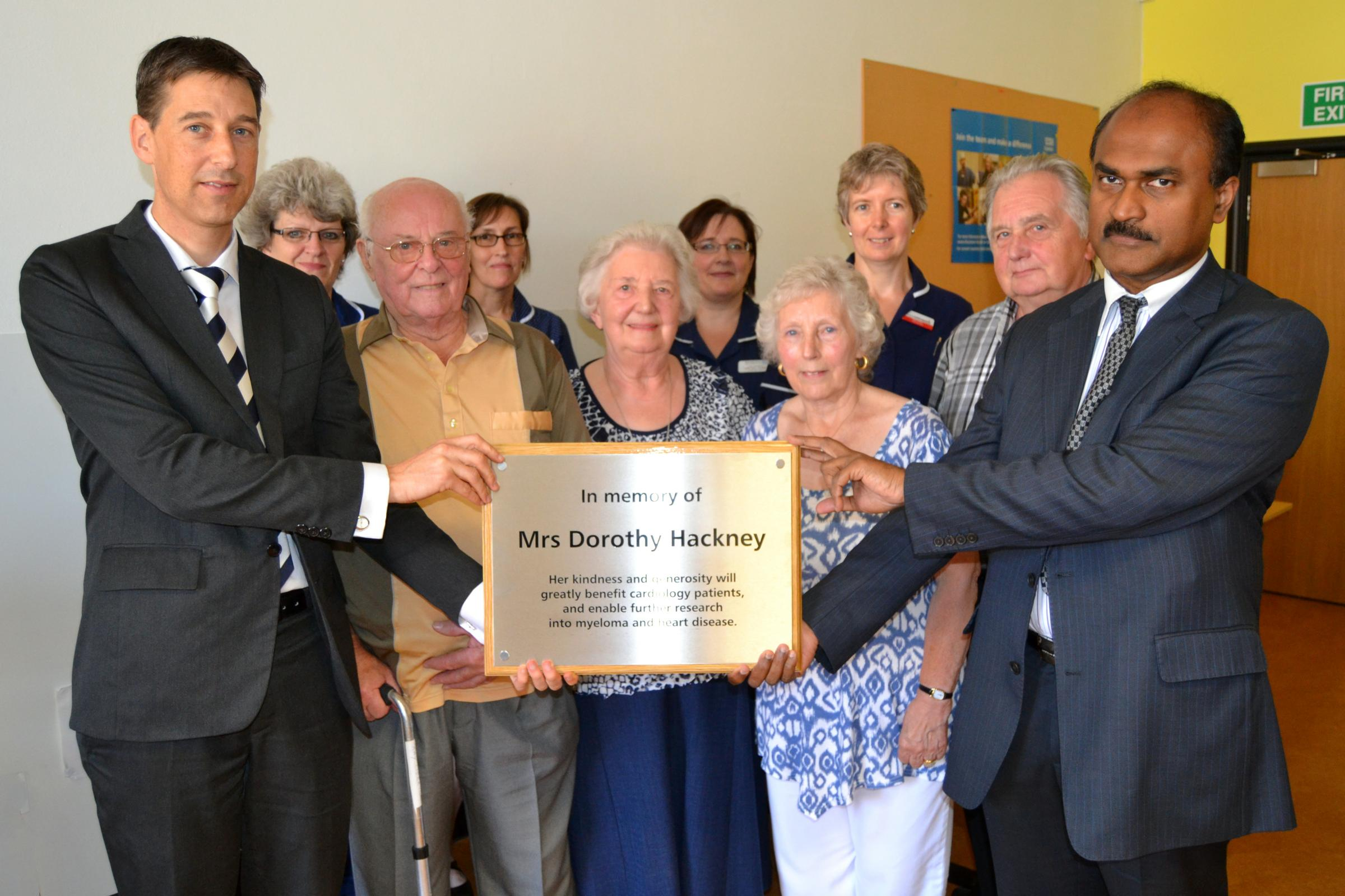 Dr Jasper Trevelyan and Dr Salim Shafeek with Mrs Hackney's friends and executors Ray and Pat Merrick and her cousin Do
