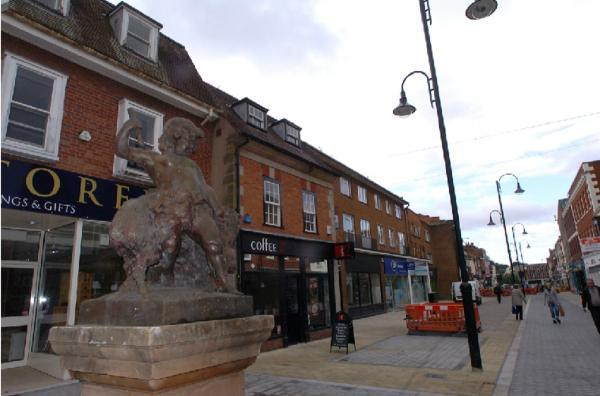 The Dryad and Boar statue has now returned to the new look Bromsgrove High Street, moving to a new position at the junction with Church Street. Buy photo BMM341405a