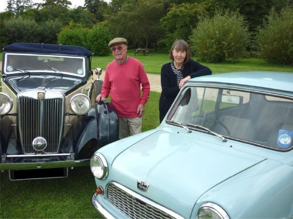 MOTORING HISTORY: Christopher Stuart with his MG VA 1937 foursome dropped coupe and Mary Parkes and her 1961 Austin 7 mini, which will be on display at Webbs garden centre this weekend. SP