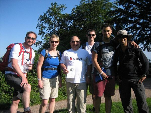 TOUGH CHALLENGE: Graeme Anderson, Rachel Piper, chief executive Mike Brown, Chris Ralph, Jordan Gravell and Surjit Balu, from Bromsgrove District Housing Trust, who took part in fundraising walk. SP