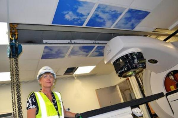 SUCCESSFUL TEST: Cancer manager and lead Macmillan nurse at Worcestershire Royal Hospital, Anne Sullivan, in the new radiotherapy centre's sky-themed linac treatment room. SP