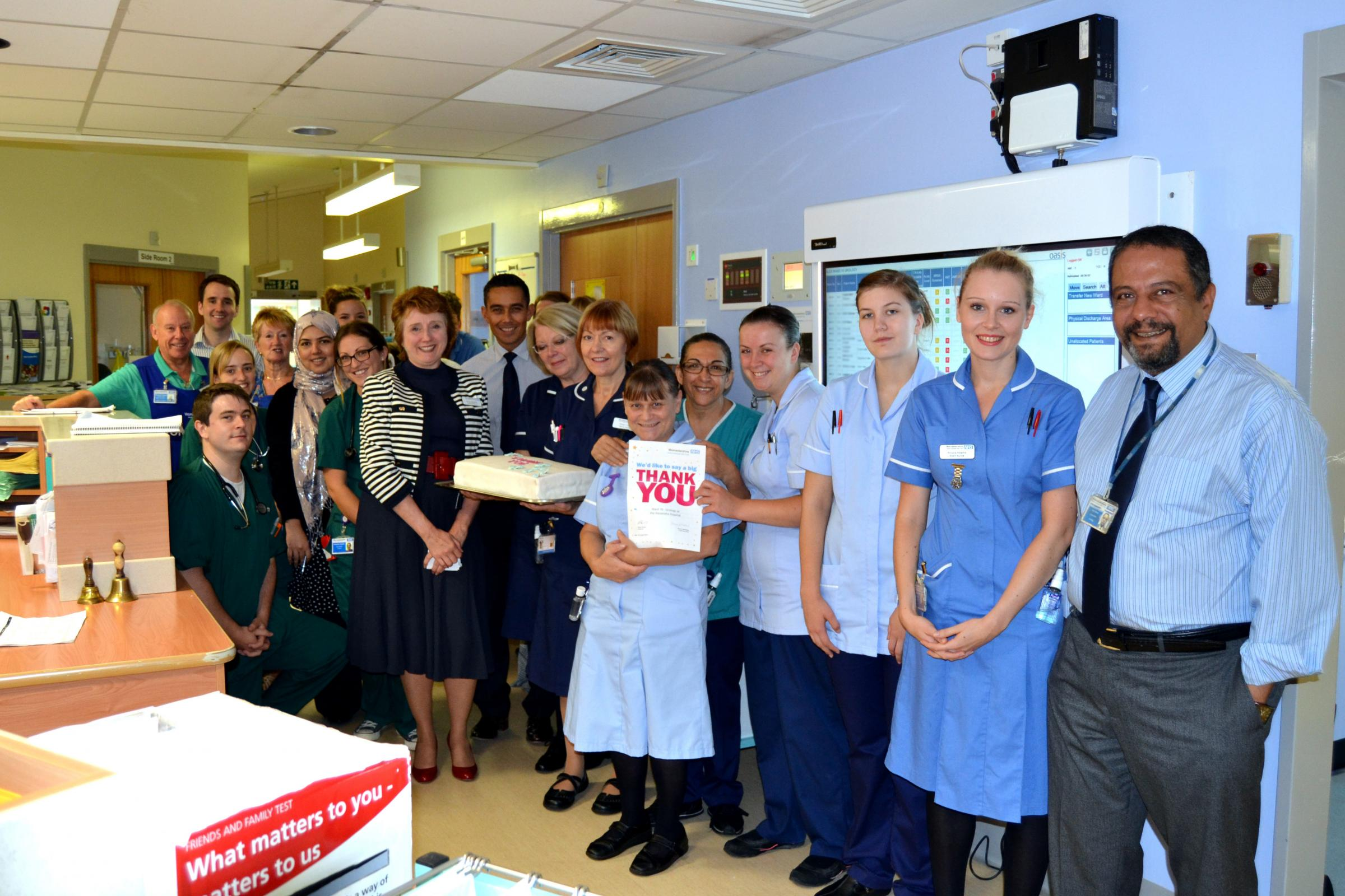 The team on Ward 10 receiving their Big Thank You with Penny Venables. SP