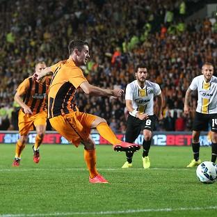 Robbie Brady, second from left, scores Hull's second goal fr