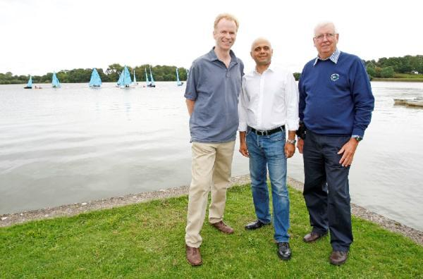 CLUB VISIT: Bromsgrove MP Sajid Javid pictured with Mike Pickworth and Stuart Howe, from the club. Buy photo BCR361401_01
