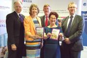 (L-R) Ian Oakes (University of Wolverhampton), Melanie Mills (Social Enterprise West Midlands), Hazel Blears, Alan Smith (Keir Group) and Tom Macdonald (West Midlands Construction UTC).