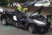 The wreckage of a car involved in this afternoon's crash. PIC: WEST MIDLANDS AMBULANCE SERVICE