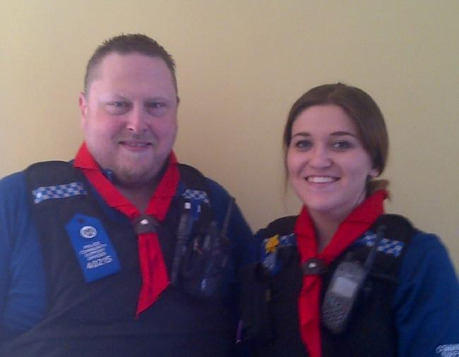 PCSOs Stuart Taylor and Chelsea Lloyd were made honorary cub scouts, by the St Kenelm's troop.