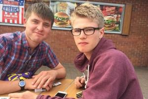 LOVE: Dominic Preece (right) lost his arm in a horrific train accident but his boyfriend, Tom (left), helped to save his life.