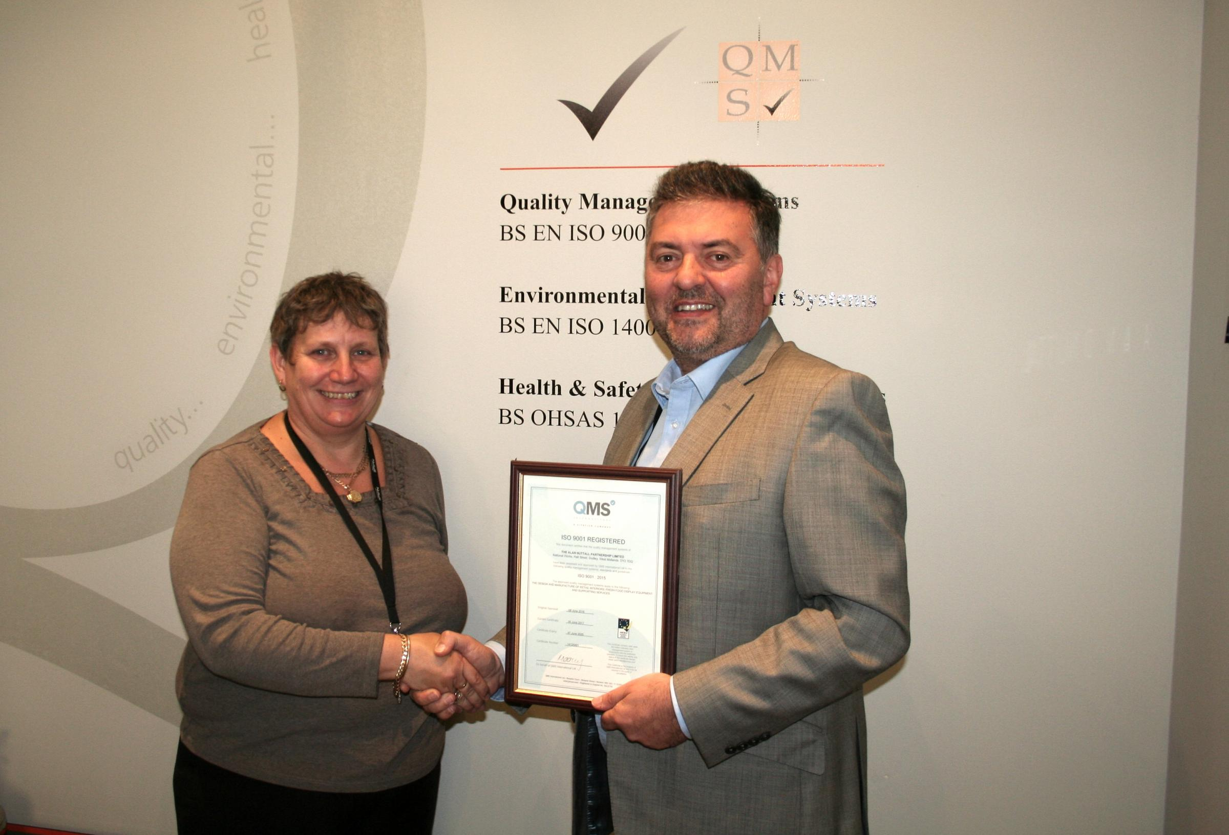 L-R: Jane Peevor-Evans, quality manager and Nino Calandra, managing director, celebrate the achievement